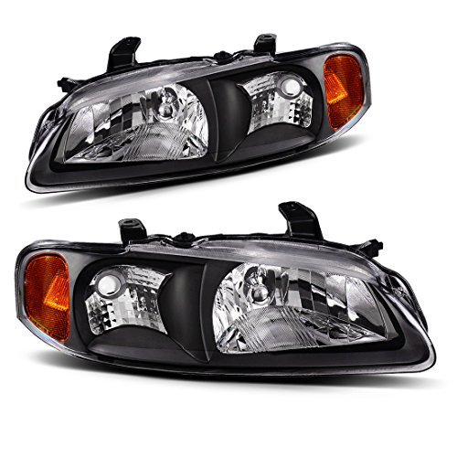 1 02 03 Nissan Sentra Headlight Assembly,OE Style Projector Headlamp Replacement,Amber Reflector Black Housing,One-Year Limited Warranty(Driver and Passenger Side) (Nissan Projector Headlights)