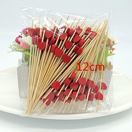 Prakritii cultivating green Bamboo Skewer |Barbeque Skewer | BBQ Skewer | Fancy Design Pink Skewer [12 cm / 4.5 inches ] {Pack of 100}