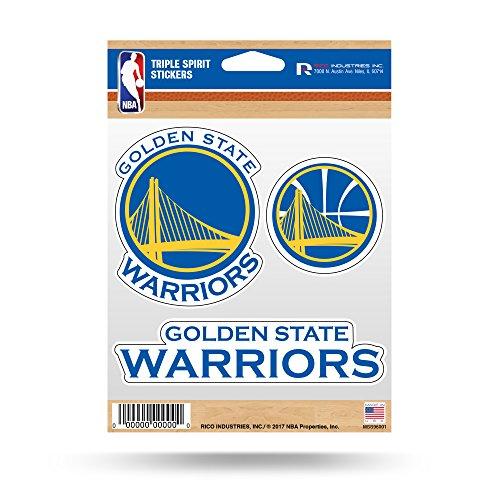 Rico Industries NBA Golden State Warriors Die Cut 3-Piece Triple Spirit Sticker Sheet