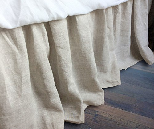 Linen Bedskirt, Natural Linen Bed Skirt, Natural Linen Bed Ruffles, Linen Dust Ruffle, Shabby Chic Bedding, Twin Bed Skirt, Queen Bed Skirt, King Bed Skirt, HANDMADE, FREE SHIPPING by SuperiorCustomLinens