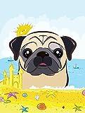 Caroline's Treasures BB2130GF Fawn Pug Summer Beach Garden Flag, Small, Multicolor For Sale