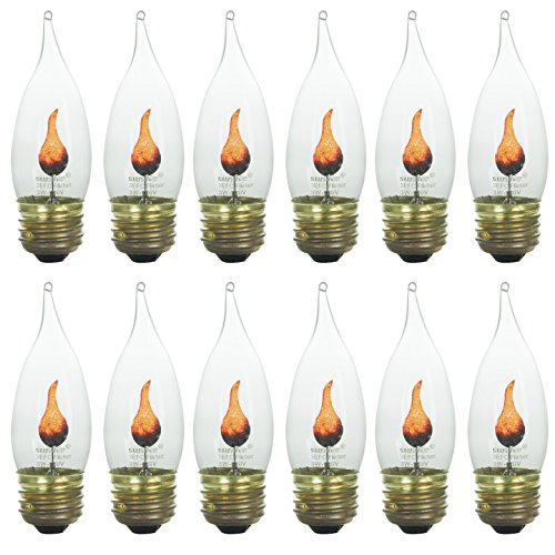 Sunlite 3EFC/12PK 3W Halloween Incandescent Chandelier Flickering Flame Light Bulbs with Medium E26 Base and Crystal Clear Bulb (12 Pack)