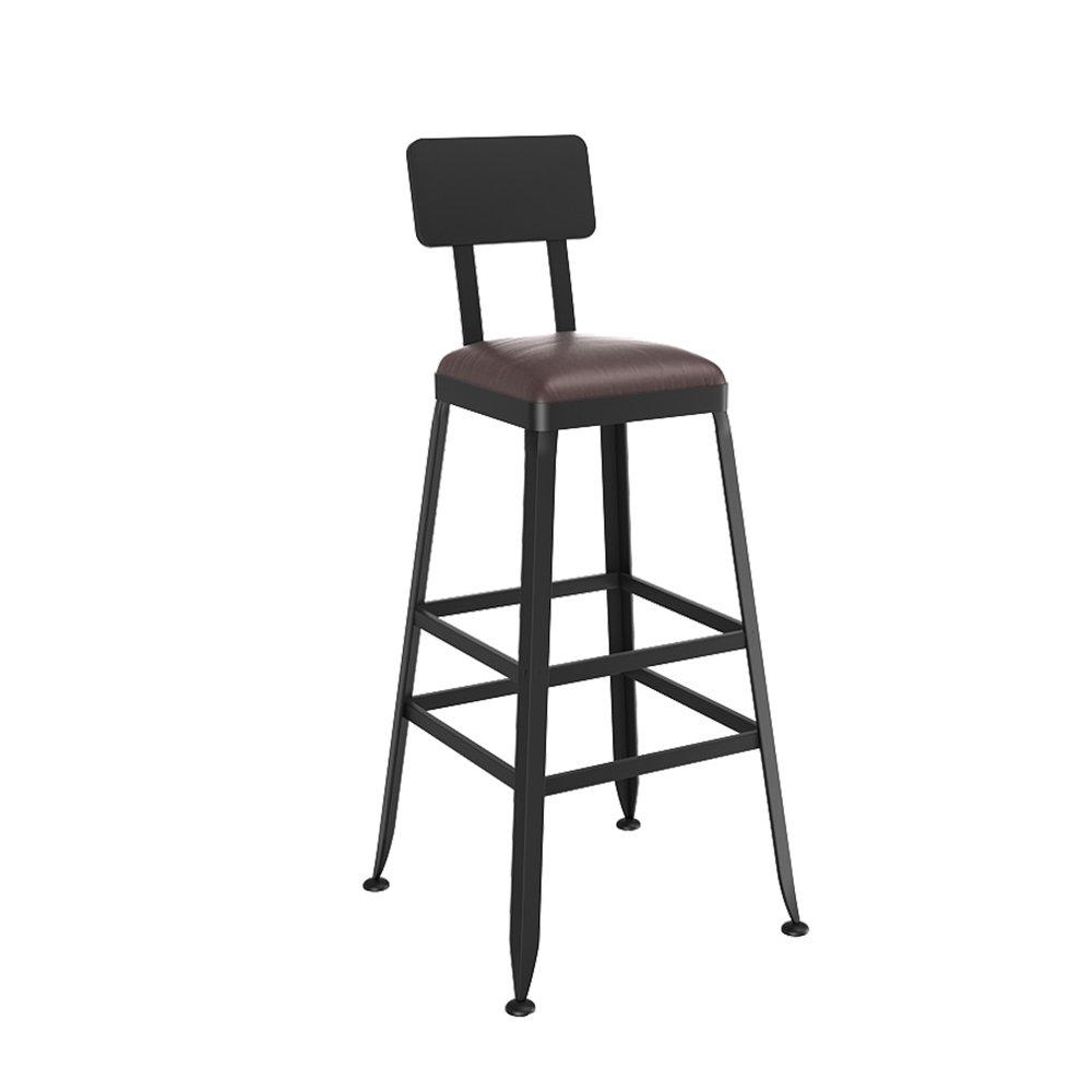 バーの椅子ヨーロッパの固体木製のバーの椅子近代的なミニマリスト鍛鉄の高いスツール背もたれを持つバーカフェシートチェア(複数のサイズがご利用いただけます) (色 : D, サイズ さいず : 65 cm 65 cm) B07D21NL59 65 cm 65 cm|D D 65 cm 65 cm