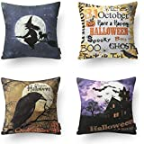 "PHANTOSCOPE Halloween Series Castle, Crow, Letter, and Wizard Throw Pillow Case Cushion Cover 18"" x 18"" 45cm x 45cm Set of 4"