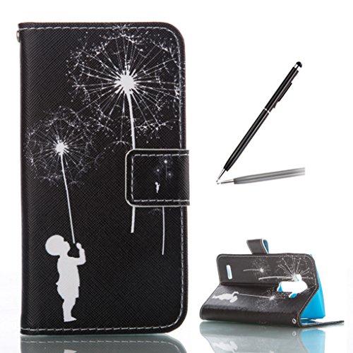 Trumpshop Smartphone Carcasa Funda Protección para LG K7 + Fox y Conejo Blanco + PU Cuero Caja Protector con Función de Soporte Ranuras para Tarjetas Choque Absorción Fuegos Artificiales