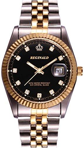 Men's Luxury Stainless Steel Band Mineral Mirror Calendar Luminous Waterproof Quartz Watch Black