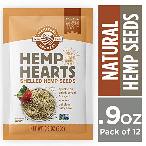 Manitoba Harvest Hemp Hearts Raw Shelled Hemp Seeds, 0.9oz (Pack of 12 Single Serve Packets); with 10g Protein & 12g Omegas per - Hemp Single
