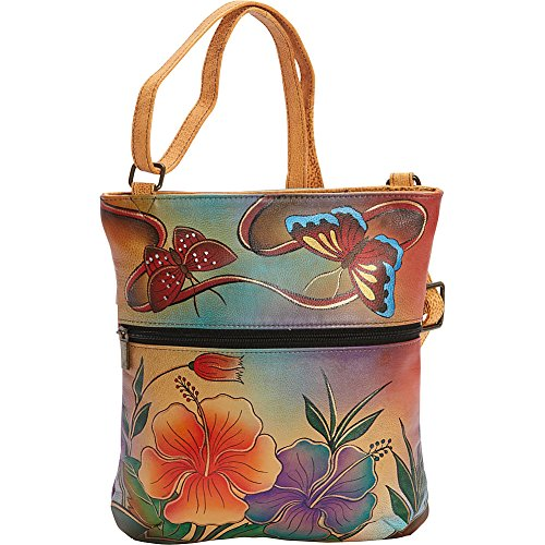 Anuschka Handpainted Leather Slim Cross Shoulder Bag, Antique (Hand Painted Leather Bags)