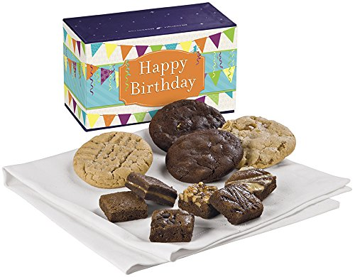 Fairytale Brownies Birthday Treasure Cookie & Magic Morsel Combo Gourmet Food Gift Basket Chocolate Box - 1.5 Inch x 1.5 Inch Bite-Size Brownies and 3.25 Inch Cookies - 10 Pieces