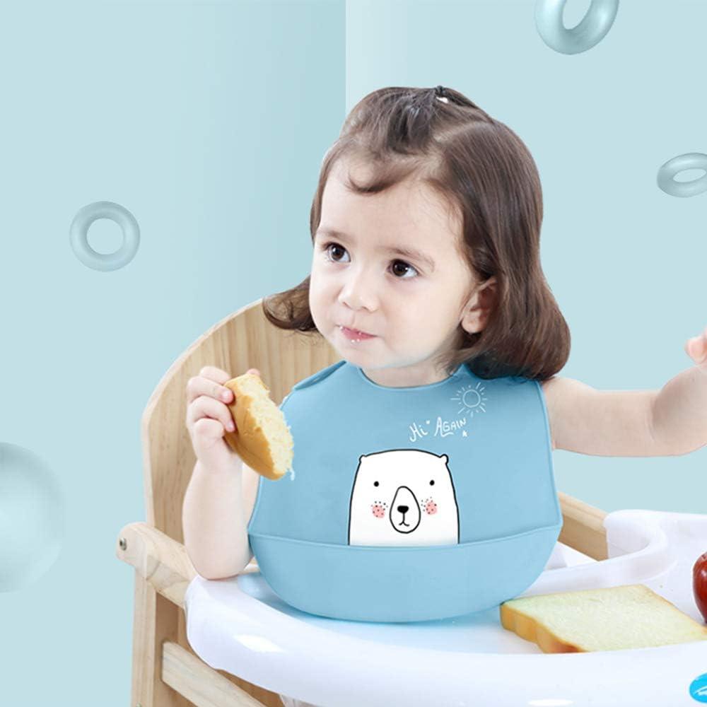 anti-allergie adapt/é pour les repas de b/éb/é Bavoir en silicone Mrechan ensemble de dossard 2 pi/èces mignon bavoir dours blanc avec poche de collection lavable silicone de s/écurit/é