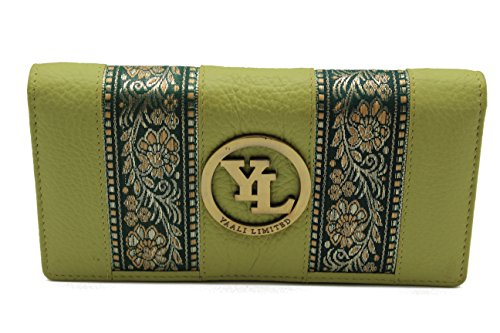 yl-womens-genuine-leather-clutch-wallet-purse-hipster-embroidery-lace-green