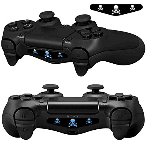 (Mod Freakz Pair of LED Light Bar Skins Three Skulls and Crossbones Warnings for PS4 Controllers)