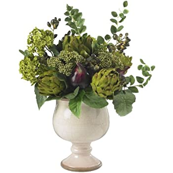 Nearly Natural 4759 Artichoke and Hydrangea Silk Flower Arrangement, Green/White
