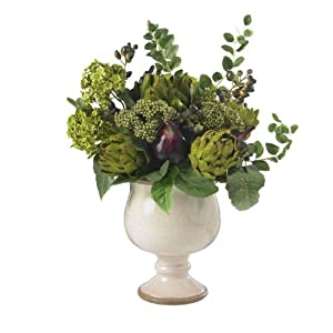 Nearly Natural 4759 Artichoke and Hydrangea Silk Flower Arrangement, Green/White 22