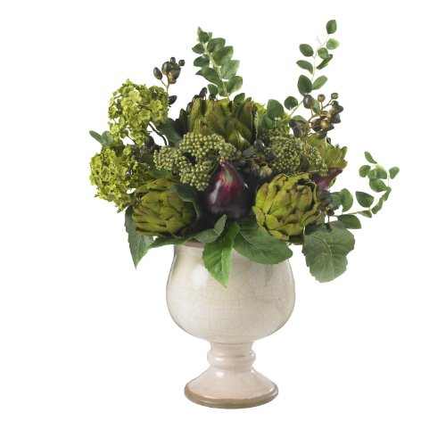 Nearly Natural Silk Artichoke - Nearly Natural 4759 Artichoke and Hydrangea Silk Flower Arrangement, Green/White