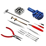 Preamer 16 Piece Watch Repair Kit Set & Wrist Strap Adjust Pin Tool Kit