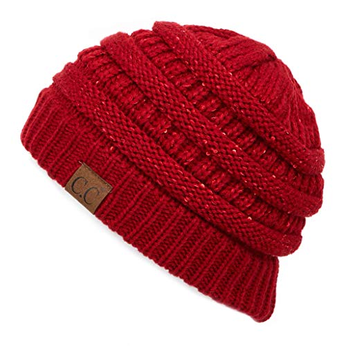 C.C Exclusives Cable Knit Beanie - Thick, Soft & Warm Chunky Beanie Hats (Sequin ()