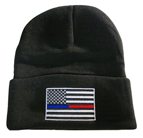 Red Line USA Flag Knit Skull Cap Hat Beanie Support Police Firefighter (Line Knit Hat)