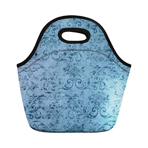 Semtomn Lunch Tote Bag Pretty Vintage Blue Floral Pattern Jacobean Vine Aged Flower Reusable Neoprene Insulated Thermal Outdoor Picnic Lunchbox for Men ()