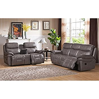 Amax Leather Summerlands Leather Reclining Sofa And Reclining Loveseat With  Console, Smoke Grey