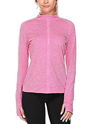 Billti Women's Lightweight Active Performance Full-zip Stretchy Jackets with Thumb Holes Running Yoga Sports Tops