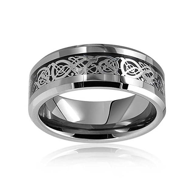 Bling Jewelry Anillo Tungsteno Dragón Celta Negro Plano etampado cómodo Anillo de Boda: Amazon.es: Joyería