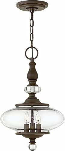 Hinkley 4323OZ Transitional Three Light Chandelier from Wexley collection in Bronze Darkfinish,