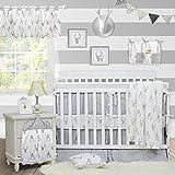 Brandream Crib Bedding Sets Neutral Baby Boy Girl Nursery Crib Bedding Woodland Arrow Deer Head Pattern White Gray Grey (11 Pieces Crib Bedding Set with Bumpers)