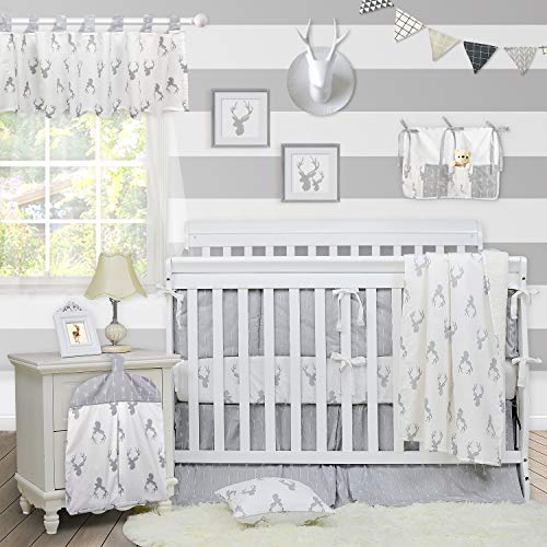 Brandream Crib Bedding Sets Neutral Baby Boy Girl Nursery Crib Bedding Woodland Arrow Deer Head Pattern White Gray Grey (11 Pieces Crib Bedding Set with Bumpers)