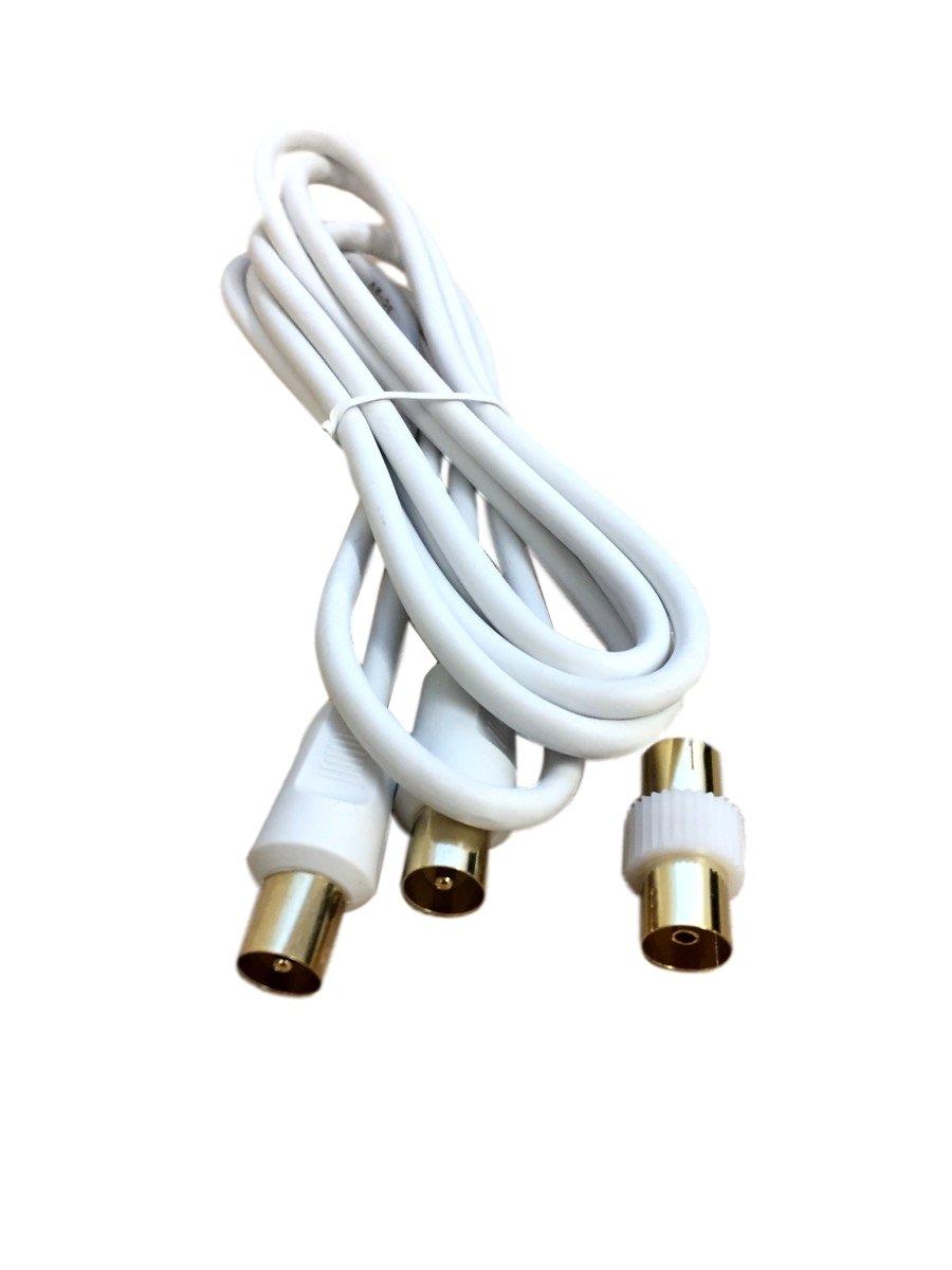 Hashs - Cable de antena coaxial, macho a extensión M, dorado, 1 m, 2 m, 3 m, 5 m, 10 m, 20 m: Amazon.es: Electrónica