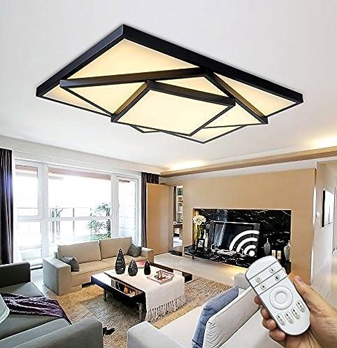 Style Home 48W LED Deckenleuchte Für Wohnzimmer Schlafzimmer Kinderzimmer  Küche Voll Dimmbar Mit Fernbedienung Schwarz Rechteckig