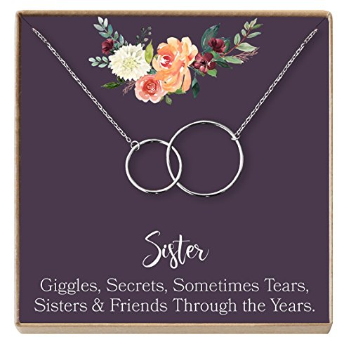 Sisters Gift Necklace: Gift for Sister, Sister Birthday Gift, Big Sister Gift, Giggles Secrets Tears, 2 Interlocking Circles (silver-plated-brass, (Ava Jewelry Box)