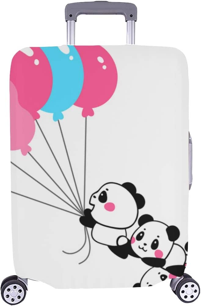 Lovely Cartoon Pandas Take Spandex Trolley Case Travel Luggage Protector Suitcase Cover 28.5 X 20.5 Inch