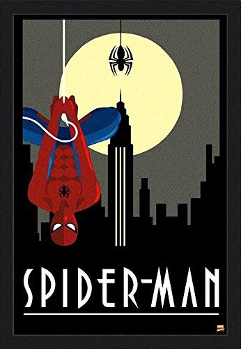 FRAMED Spider-man Art Deco Upside Down 34x22.5 Art Poster Print Movie Wall Decor Marvel Peter Parker Spiderman