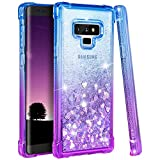 Ruky Galaxy Note 9 Case, Galaxy Note 9 Glitter Case, Gradient Quicksand Series Reinforced Corners TPU Bumper Cushion Protective Shockproof Bling Heart Liquid Case for Galaxy Note 9 - Blue/Purple