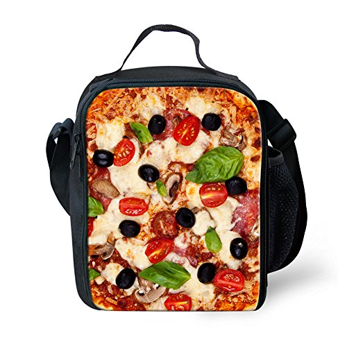 Showcool 3D Printed Food Pizza Zipper Lunch Bag Polyester Mini Cooler Meal Bag Cool Insulated Lunch Box for Boys Girls Kids Children