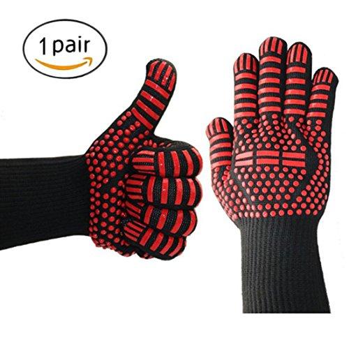 Dete Cooking Glove 932  F Extreme Hitzebestndig Kevlar & Silikon Isolierte Schutz Pad fr BBQ, Kochen, Grillen, Backen oder Topflappen 1 Paar (Arrow)