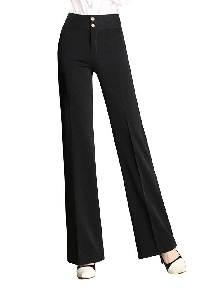 Women's High Waist Wide Leg Palazzo Pants Slacks Fashion Work Trousers Black Tag 2XL-US 8