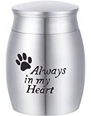 "K-Y Engraved ""Always in my Heart"" Pet Sole Mini Urn Ashes Keepsake Cremation Jewelry Stainless Steel"