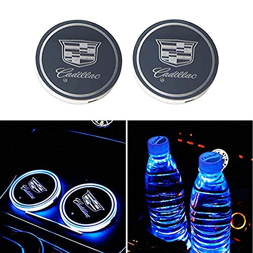 LED Car Logo Cup Holder Lights,Cadillac Interior Accessories Waterproof Bottle Drinks Coaster Built-in Light 7 Colors USB Charging Mat Luminescent Cup Pad Atmosphere Lamp Decoration Light (2 PCS)