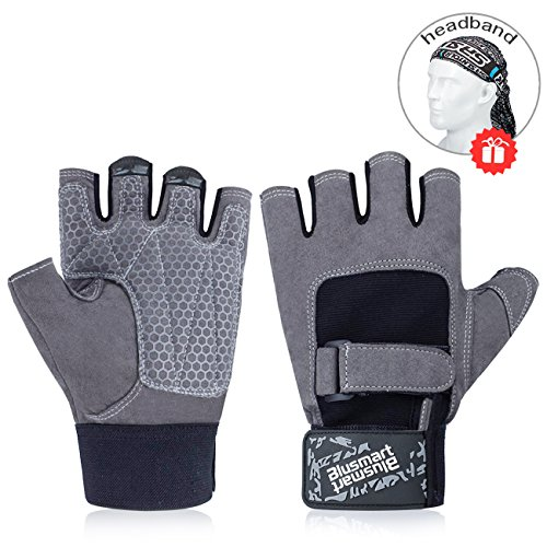 Blusmart Workout Gloves, Biking Cycling Gloves Half-Finger Men & Women, Gloves for Weight Lifting Exercise Fitness Training Sport, Full Palm Protection & Extra Grip