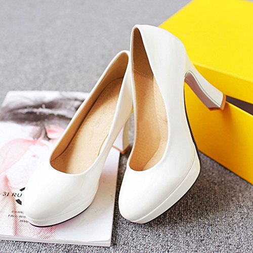 Heel Shoes White Office High Women's TAOFFEN Pumps qwa4tFt6
