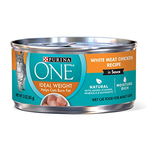 Purina ONE Natural Weight Control Wet Cat Food; Ideal Weight White Meat Chicken Recipe in Sauce - (24) 3 oz. Pull-Top Cans