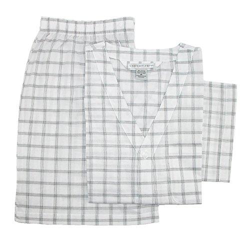 Geoffrey Beene Men's Broadcloth Short Sleeve Short Leg Pajama Set, Large