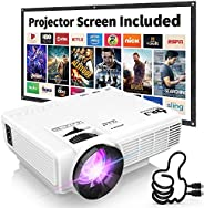 DR. J Professional HI-04 4500L Mini Projector Outdoor Movie Projector, 1080P Supported with 100Inch Projector