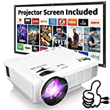 DR. J Professional HI-04 1080P Supported Portable Movie Projector, 3600L Mini Projector with 100Inch Projector Screen, Compatible with TV Stick, Video Games, HDMI,USB,TF,VGA,AUX,AV (Latest Upgrade): more info