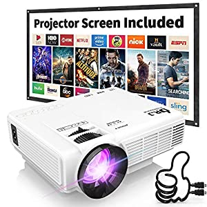 DR. J Professional HI-04 Mini Projector Outdoor Movie Projector with 100Inch Projector Screen, 1080P Supported…