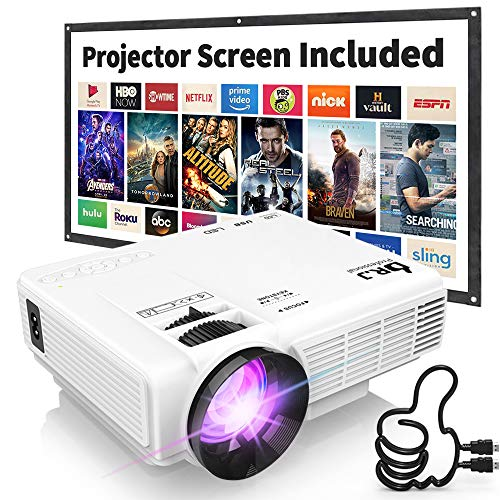 affordable DR. J Professional HI-04 1080P Supported Portable Movie Projector, 3600L Mini Projector with 100Inch Projector Screen, Compatible with TV Stick, Video Games, HDMI,USB,TF,VGA,AUX,AV (Latest Upgrade)