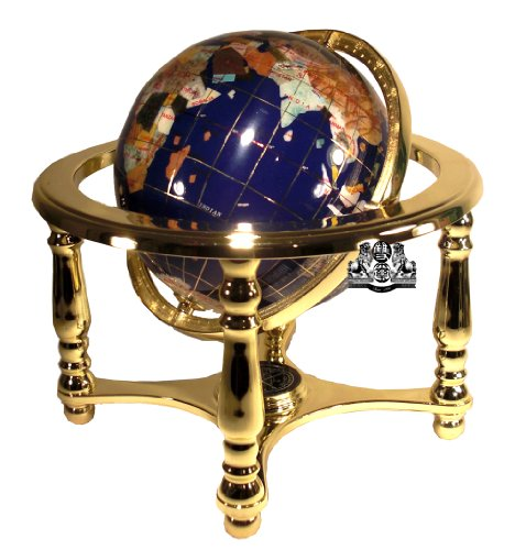 - Unique Art 10-Inch Tall Table Top Blue Lapis Ocean Gemstone World Globe with 4 leg Gold Stand