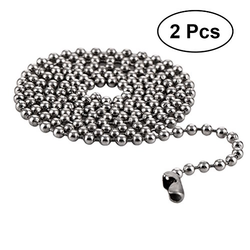 - VORCOOL 2pcs Stainless Steel Ball Chain Necklace Titanium Steel Pendant